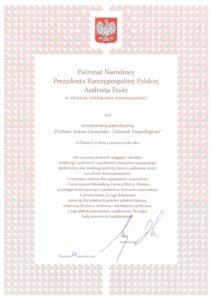 Profesor Antoni Cieszyński - dyplom od prezydenta